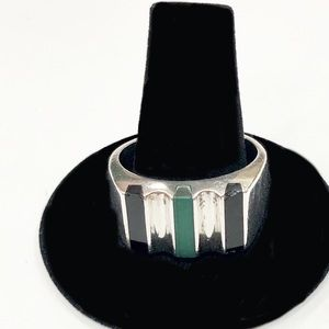 Other - Unisex Sterling Silver Onyx Ring sz 11